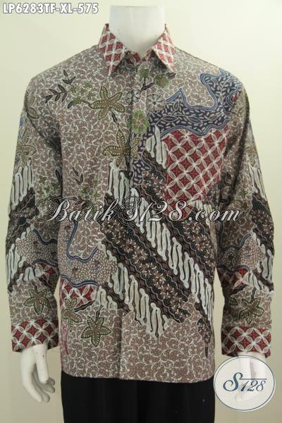 Aneka Baju Kerja Batik Solo Premium, Busana Batik Mewah Halus Model Lengan Panjang Full Furing, Elegan Buat Pria Dewasa Tampil Gagah Berwibawa, Size XL