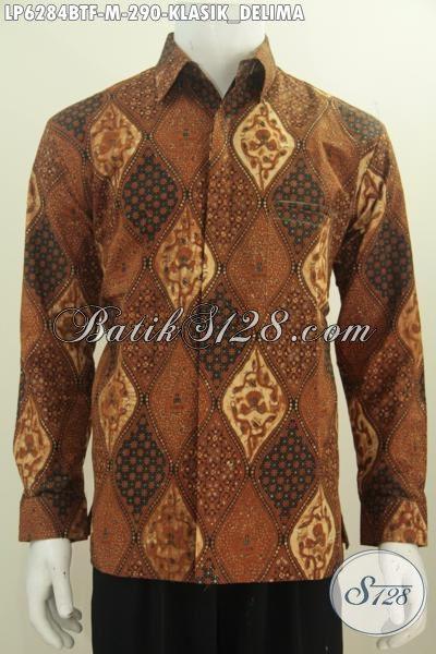 Kemeja Batik Klasik Motif Delima, Pakaian Batik Premium Kombinasi Tulis Lengan Panjang Full Furing Yang Membuat Lelaki Terlihat Berkarakter, Size M