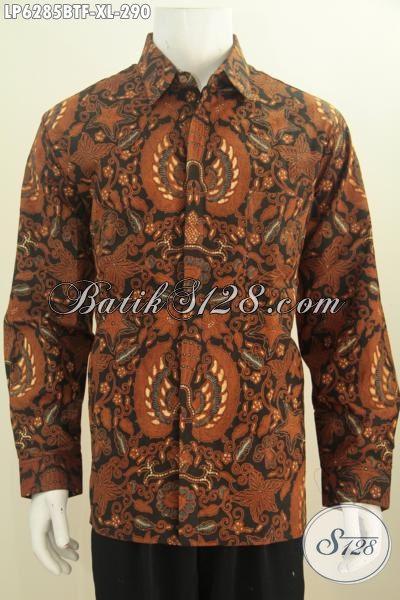 Baju Batik Klasik Kombinasi Tulis, Hem Batik Elegan Lengan Panjang Proses Kombinasi Tulis Berbahan Halus Di Lengkapi Furing Untuk Penampilan Lebih Gagah, Size XL