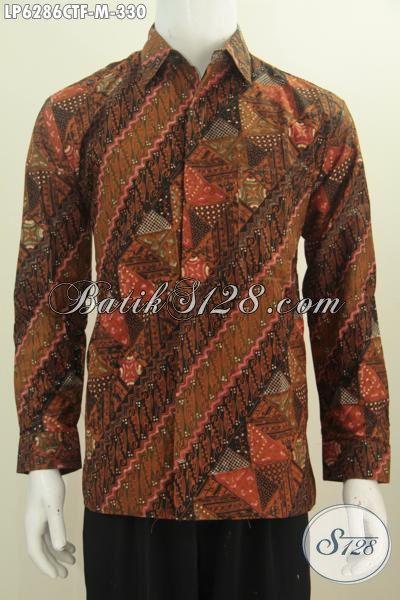 Hem Lengan Panjang Batik Cap Tulis Motif Klasik, Pakaian Batik Istimewa Full Furing Berbahan Adem Untuk Seragam Kerja Dan Acara Formal, Size M