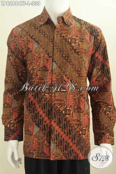 Baju Kemeja Batik Premium Lengan Panjang Pakai Furing, Hem Batik Halus Bahan Adem Proses Cap Tulis Untuk Penampilan Lebih Gaya Dan Mempesona, Size L