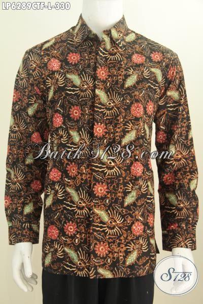Baju Kerja Batik Keren Lengan Panjang, Pakaian Batik Modis Full Furing Motif Unik Cap Tulis Bikin Penampilan Makin Menawan, Size L
