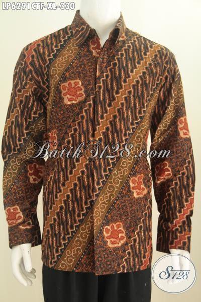 Pakaian Batik Terbaru Untuk Pria Dewasa, Kemeja Batik Klasik Nan Elegan Bahan Adem Model Lengan Panjang Mewah Daleman Full Furing Tampil Lebih Istimewa Proses Cap Tulis [LP6291CTF-XL]