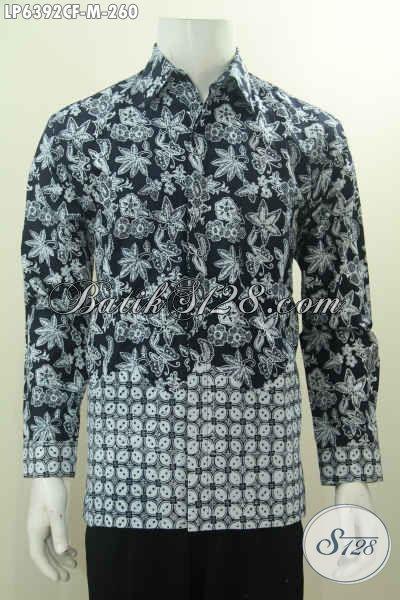 Hem Batik Hitam Putih Lengan Panjang Proses Cap Full Furing, Kemeja Batik Elegan Lelaki Muda Untuk Tampil Makin Gagah, Size M