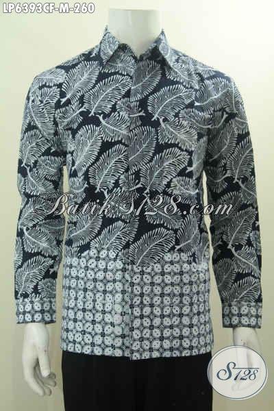 Jual Baju Batik Dua Motif Proses Cap, Hem Batik Halus Lengan Panjang Elegan Warna Hitam Putih Daleman Pakai Furing Lebih Mewah [LP6393CF-M]