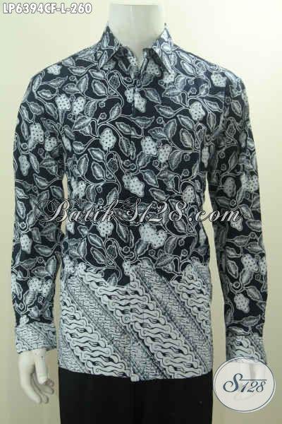 Hem Batik Elegan Berkelas Warna Hitam Putih Dual Motif, Baju Batik Cap Istimewa Lengan Panjang Full Furing Tampil Makin Gagah, Size L