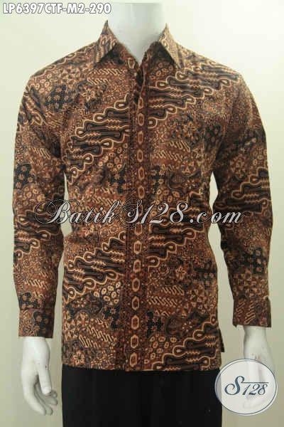 Pakaian Batik Klasik Motif Parang Dengan Desain Berkelas, Baju Batik Halus Full Furing Model Lengan Panjang Proses Cap Tulis Harga Di Bawah 300 Ribuan, Size M
