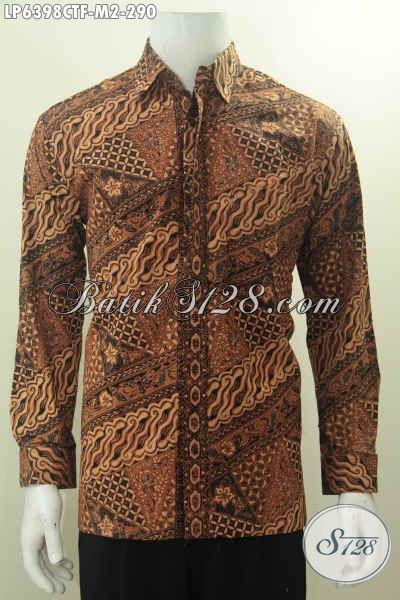 Hem Baju Batik Keren Kwalitas Premium Proses Cap Tulis Berbahan Halus Daleman Full Furing, Hem Batik Motif Parang Yang Bikin Pria Terlihat Gagah Dan Elegan, Size M