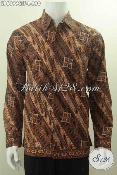 Kemeja Batik Premium Lengan Panjang Motif Parang Klasik Proses Cap Tulis, Baju Batik Elegan Full Furing Buatan Solo, Cocok Banget Buat Acara Formal, Size L