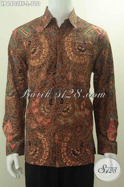 Baju Batik Premium Lengan Panjang Motif Mewah, Hem Batik Tulis Tangan Desain Formal Lengan Panjang Pake Furing Untuk Penampilan Lebih Istimewa, Size L