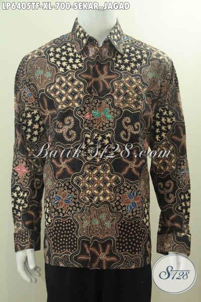 Produk Baju Batik Klasik Sekar Jagad Lengan Panjang Pake Furing, Baju Batik Premium Harga Mahal Buatan Solo Exclusive Buat Pria Dewasa Karir Sukses, Size XL