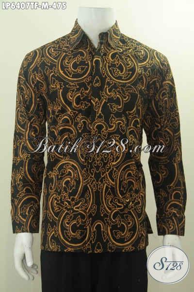 Jual Kemeja Batik Motif Nada Utah Khas Cirebonan, Baju Batik Kwalitas Halus Proses Tulis Model Lengan Panjang Full Furing, Size M