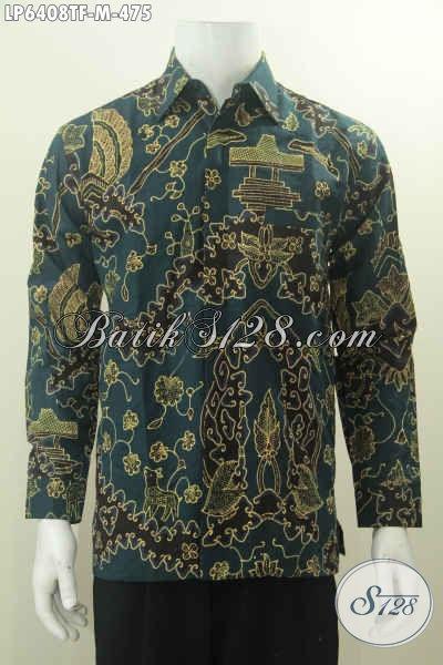 Baju Batik Tulis Motif Eweng Khas Cirebonan, Hadir Dengan Warna Hijau Tua Desain Berkelas Proses Tulis Lengan Panjang Dan Pake Furing, Size M