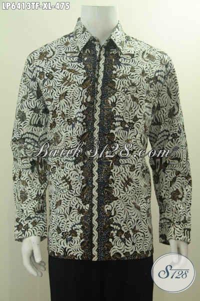 Hem Batik Premium Motif Sawat Pengantin, Kemeja Batik Berkelas Lengan Panjang Proses Tulis Cirebonan Daleman Pake Furing Untuk Seragam Kerja Tampil Istimewa, Size XL
