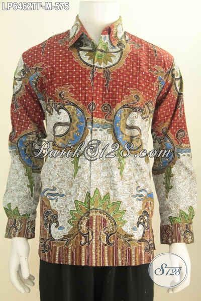 Baju Batik Premium Pria Size M, Kemeja Batik Tulis Mewah Berbahan Halus Model Lengan Panjang Full Furing Tampil Gagah Bak Pejabat [LP6462TF-M]