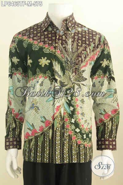 Busana Batik Pria Sukses, Hem Batik Mahal Motif Berkelas Warna Bagus Proses Tulis Tangan Model Lengan Panjang Pake Furing Harga Jual 575K [LP6463TF-M]
