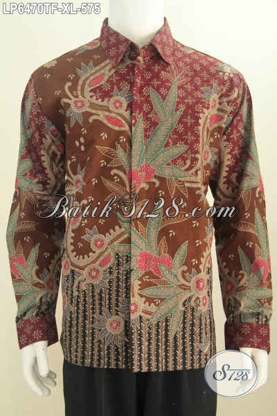 Hem Batik Halus Mewah Berkelas Dengan Motif Terkini Model Lengan Panjang Full Furing Harga 575K, Bisa Buat Rapat Dan Seragam Kerja Kantoran [LP6470TF-XL]