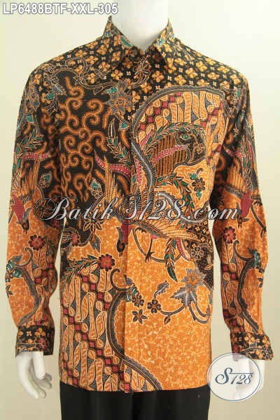 Kemeja Batik Lengan Panjang Istimewa, Hem Batik Elegan Lengan Panjang Full Furing Motif Mewah Proses Kombinasi Tulis Cocok Untuk Rapat, Size XXL