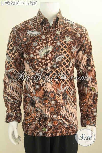 Hem Batik Bagus Kwalitas Halus Proses Kombinasi Tulis, Baju Batik Mewah Elegan Lengan Panjang Full Furing Size L, Modis Buat Kerja Dan Rapat [LP6494BTF-L]