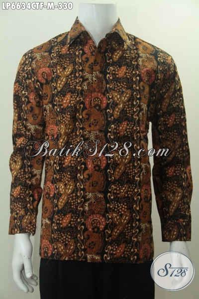 Hem Batik Elegan Dengan Desain Motif Mewah Berbahan Halus Proses Cap Tulis, Baju Batik Lengan Panjang Full Furing Harga 330K Untuk Pria Muda Tampil Beda [LP6634CTF-M]