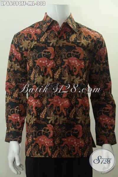 Baju Hem Batik Etnik Lengan Panjang Motif Unik, Busana BatikCowok Pake Furing Kwalitas Bagus Harga 330K Asli Dari Solo [LP6639CTF-L]