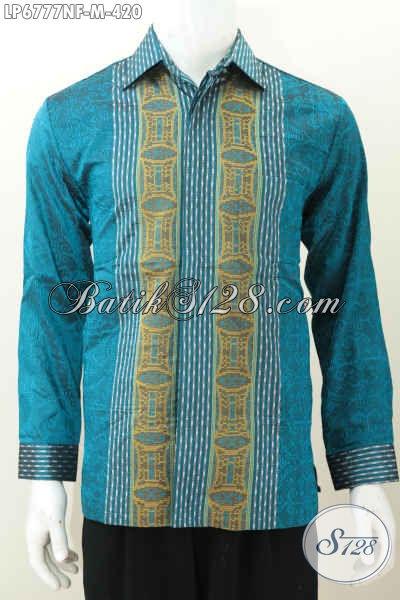 Hem Tenun Elegan Dan Mewah, Pakaian Batik Istimewa Khas Pejabat Lengan Panjang Full Furing Motif Bagus 400 Ribuan, Size M