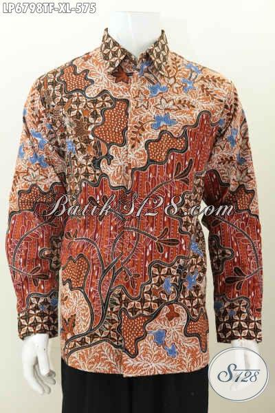 Baju Hem Batik Mewah, Kemeja Batik Solo Premium Untuk Lelaki Dewasa, Produk Baju Batik Tulis Lengan Panjang Full Furing Khas Pejabat Harga 575K [LP6798TF-XL]