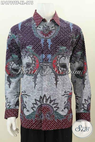 Hem Batik Lengan Panjang Mewah Kwalitas Halus Proses Full Tulis Motif Istimewa, Pakaian Batik Premium Pake Furing Bikin Penampilan Lebih Sempurna, Size XL