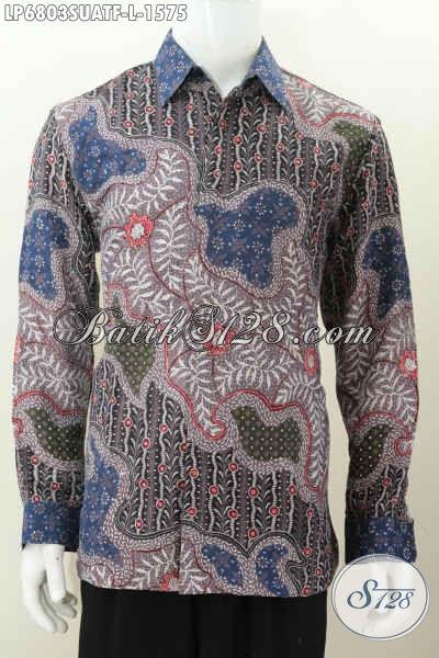 Baju Batik Mahal Harga 1.5 Jutaan, Kemeja Batik Sutra Halus Mewah Model Lengan Panjang Pakai Furing Motif Istimewa Tampil Berkelas Khas Pejabat [LP6803SUATF-L]
