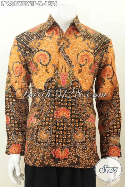 Produk Pakaian Batik Super Mewah, Hem Batik Halus Bahan Sutra Twist Ukuran M Motif Bagus Full Tulis Model Lengan Panjang Pake Furing, Cocok Untuk Rapat [LP6807SUWTF-M]