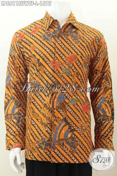 Pakaian Batik Lengan Panjang Halus Dan Mewah, Baju Kerja Dan Rapat Busan Pria Bahan Sutra Model Lengan Panjang Pake Furing Harga 1.5 Jutaan, Size L