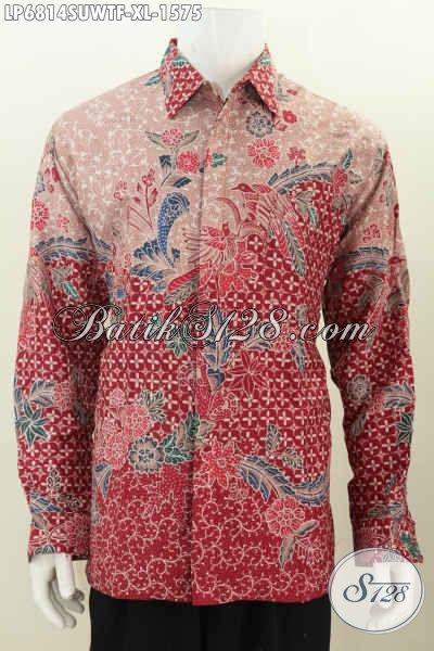 Baju Kemeja Batik Sutra Merah Nan Mewah, Pakaian Batik Full Tulis Lengan Panjang Full Furing Bahan Adem Yang Nyaman Dan Berkelas [LP6814SUWTF-XL]