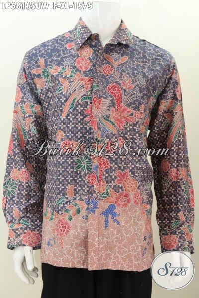 Hem Lengan Panjang Batik Sutra Halus Premium, Busana Batik Istimewa Buatan Solo Lengan Panjang Full Furing Motif Bagus Tulis Tangan Harga Di Atas 1 Jutaan, Size XL