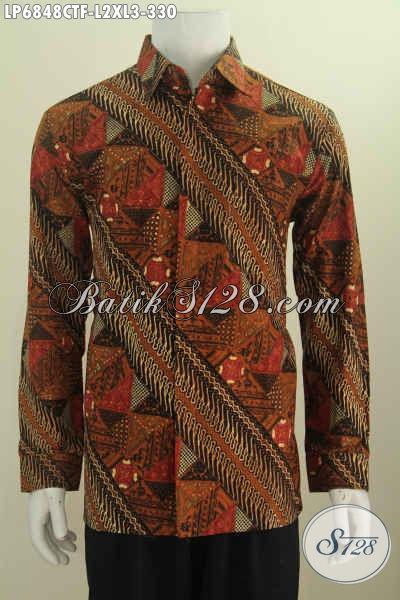 Hem Batik Motif Klasik Nan Mewah, Pakaian Batik Berkelas Proses Cap Tulis, Hadir Dengan Model Lengan Panjang Pakai Furing Untuk Terlihat Gagah [LP6848CTF-XL]