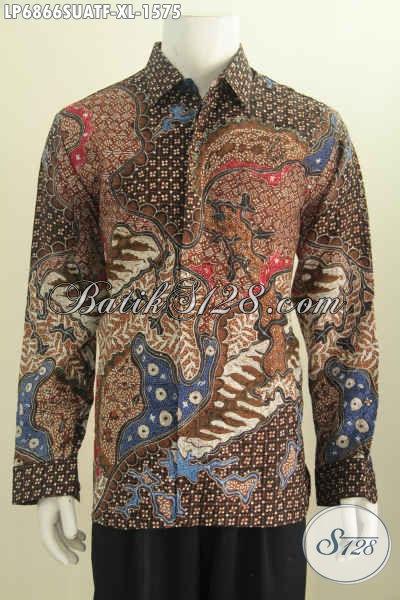 Baju Batik Sutra Nan Mewah, Hem Lengan Panjang Motif Klasik Buatan Solo Daleman Full Furing Exclusive Untuk Pria Sukses [LP6866SUATF-XL]