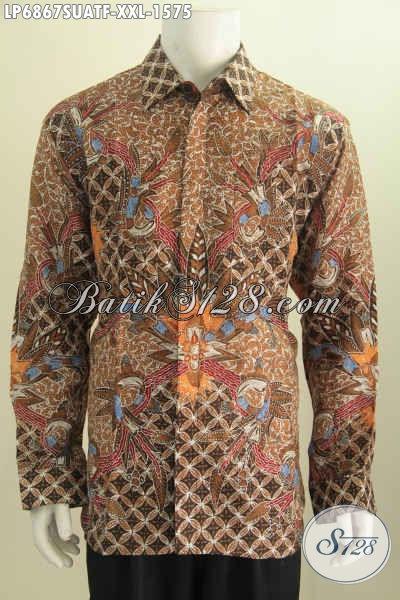 Hem Batik Sutra Lengan Panjang Mewah, Pakaian Batik Full Furing Motif Klasik Tulis Tangan Harga 1.5 Jutaan, Size XXL Buat Pria Gemuk