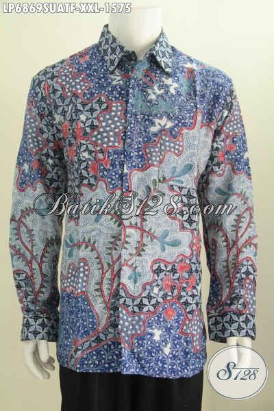 Baju Batik sutra 3L, Hem Batik Super Premium Harga Mahal Bahan Asli Sutra ATBM Motif Bagus Proses Tulis Tangan Model Lengan Panjang Full Furing [LP6869SUATF-XXL]