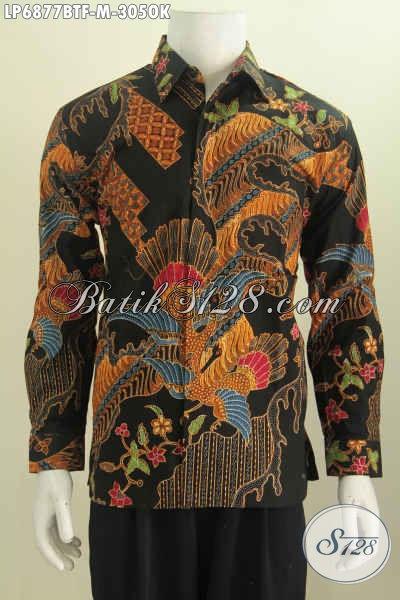 Jual Online Hem Batik Lengan Panjang Istimewa, Baju Batik Halus Full Furing Proses Kombinasi Tulis Motif Trend Masa Kini Bikin Tampil Lebih Berkarakter [LP6877BTF-M]