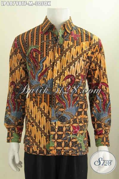 Produk Kemeja Batik Terbaru, Hadir Dengan Bahan Kwalitas Bagus Motif Mewah Proses Kombinasi Tulis Size M Model Lengan Panjang Pake Furing 305K [LP6879BTF-M]