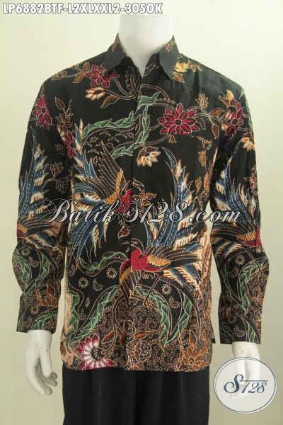 Baju Hem Lengan Panjang Bahan Batik kombinasi Tulis Motif Mewah Daleman Full Furing Untuk Kerja Dan Rapat Tampil Mempesona [LP6882BTF-XL , XXL]