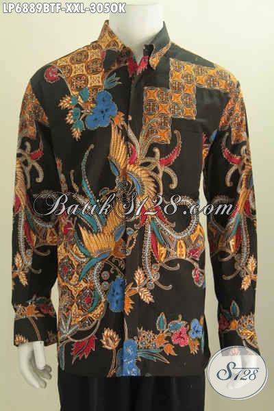Jual Online Kemeja Batik Istimewa, Pakaian Batik Halus Lengan Panjang Full Furing Spesial Buat Pria Gemuk Size XXL [LP6889BTF-XXL]