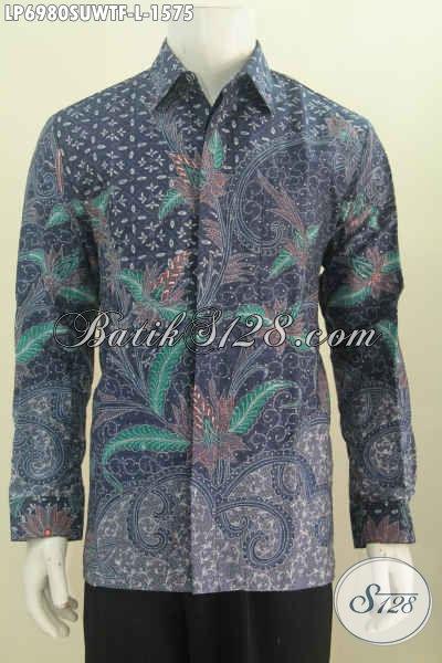 Baju Batik Super Mewah, Hem Batik Sutra Lengan Panjang Full Furing Motif Bagus Proses Tulis Tangan hanya 1.5 Jutaan, Size L