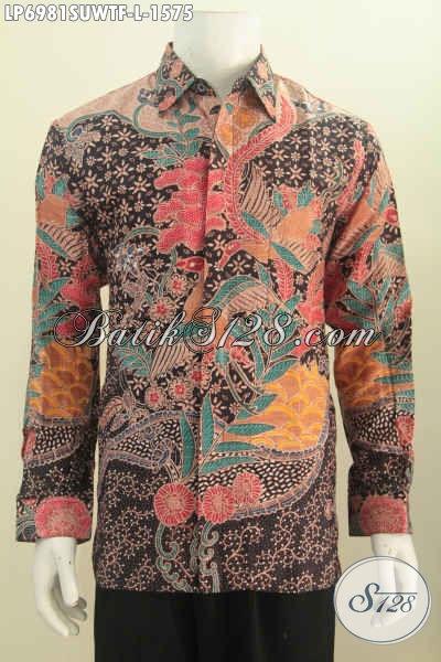 Jual Baju Batik Sutra harga Di Atas 1 Jutaan, Kemeja Batik Premium Mewah Lengan Panjang Full Furing Untuk Tampil Seperti Pejabat, Size L