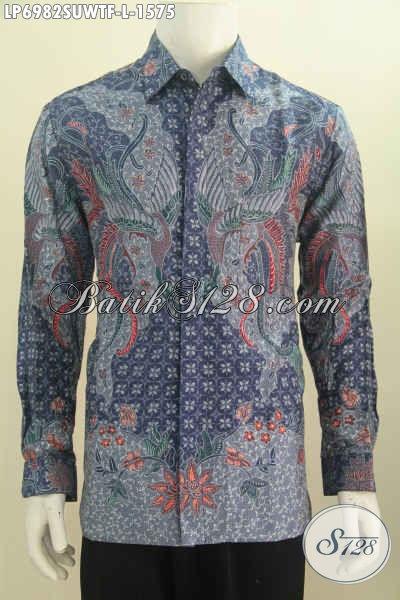 Baju Batik Sutra Halus, Kemeja Batik Solo Super Premium Lengan Panjang Motif Bagus Proses Tulis Daleman Full Furing, Size L
