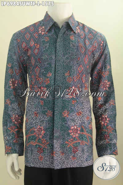 Hem Batik Sutra Full Furing Size L, Kemeja Batik Mewah Lengan Panjang Buatan Solo Exclusive Buat Pejabat Dan Pengusaha [LP6984SUWTF-L]