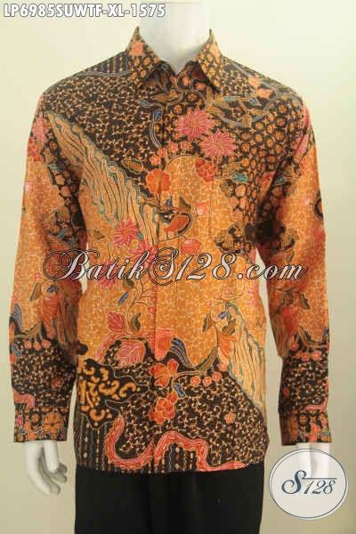 Baju Batik Premium Istimewa, Kemeja Batik Sutra Kwalitas Mewah Motif Bagus Proses Tulis Model Lengan Panjang Pakai Furing Penampilan Lebih Mempesona [LP6985SUWTF-XL]