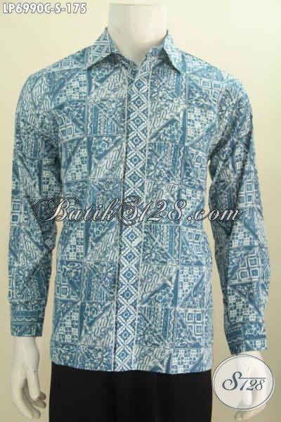 Kemeja Lengan Panjang Bahan Batik Cap, Busana Batik Trendy Kwalitas Istimewa Pas Buat Santai [LP6990C-S]