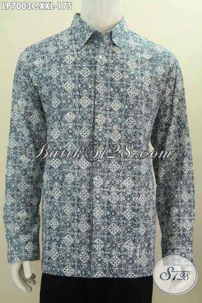 Baju Hem Batik Solo Modern Spesial Buat Pria Gemuk, Pakaian Batik 3L Proses Cap Motif Terkini Model Lengan Panjang Tampil Elegan [LP7003C-XXL]