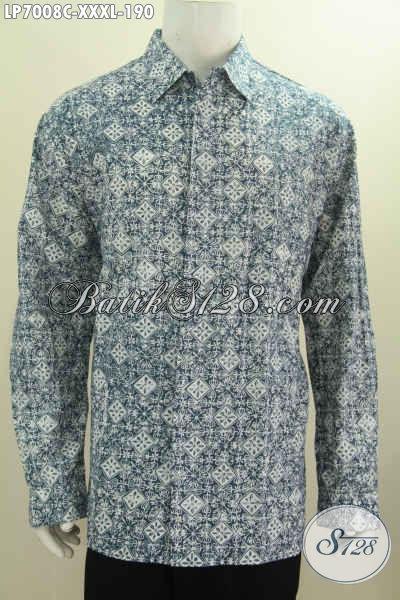 Produk Kemeja Batik Spesial Untuk Pria Gemuk Sekali, Baju Batik Berkelas Lengan Panjang Proses Cap Size XXXL [LP7008C-XXXL]