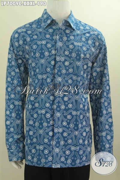 Sedia Baju Hem Lengan Panjang Warna Biru Pakaian Batik